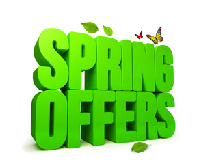 Spring Offers Green 3D Word Isolated with Clipping Paths