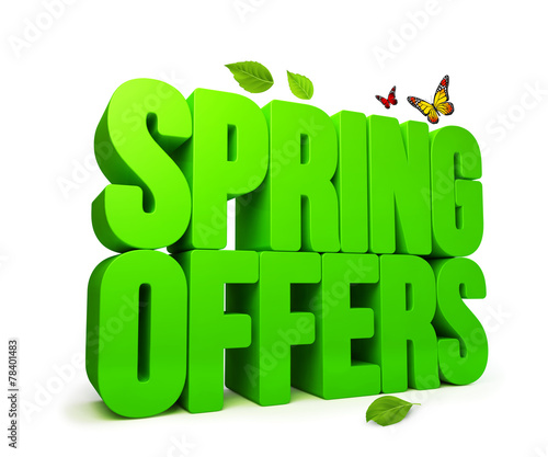 canvas print picture Spring Offers Green 3D Word Isolated with Clipping Paths