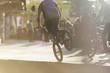 Leinwandbild Motiv Anonymous bmx biker doing a stunt