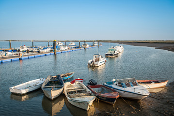 marina and fishing boats with new and old for sports and fishing
