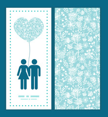 Vector blue and white lace garden plants couple in love