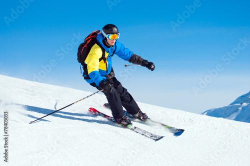 canvas print picture Skifahrer/'Snowboarder