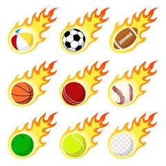 Ball label flame sticker set flat style