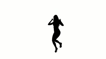 Dancing gogo girl silhouette on a white background