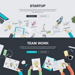 Flat design concepts for business startup and team work