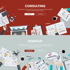Flat design concepts for business consulting, startup
