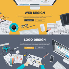 Flat design concepts for web design development, logo design
