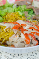 yellow noodles with roasted duck