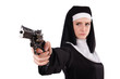 canvas print picture - Aiming young nun with gun isolated on white