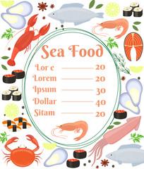 Colorful vector seafood menu poster