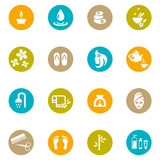 Fototapety Colored Spa and Zen Icons on White