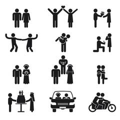 Relationship and wedding people icon set