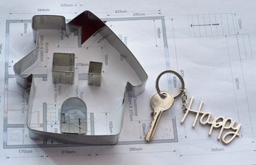 House Blueprint with Room Names in German and Happy Keychain