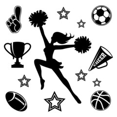 Young cheerleader with associated icons