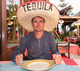 A hungry man in sambrero