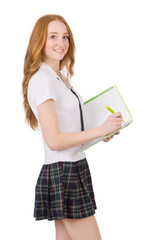 Young student female with textbook and pen isolated on white