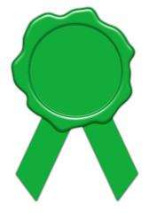 leeres grünes Umwelt Wachssiegel mit Schleife