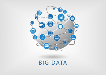 Big data connectivity with globe illustration infographic