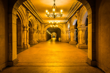 Hallway at night, in Balboa Park, San Diego, California.