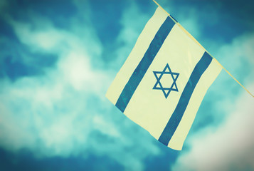 Israel Flag chain on Independence Day - vintage effect