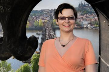 Prague woman tourist portrait