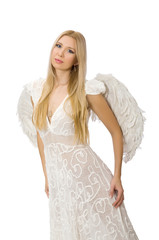 Woman with angel wings isolated on white