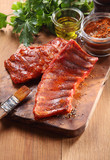Appetizing Juicy Fried Pork Rib on Wooden Board - Fine Art prints