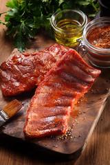 Juicy Pork Rib Fry on Wooden Cutting Board