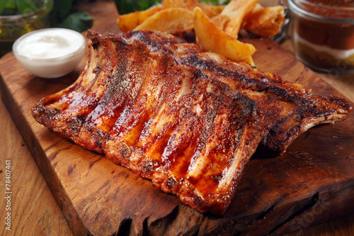 Mouth Watering Juicy Grilled Meat on Cutting Board - 78407461