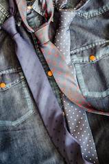 Denim vintage shirt with three ties