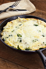 Freshly Baked Broccoli, Mushroom and Spinach Frittata