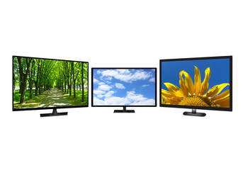 three modern TV set with different images