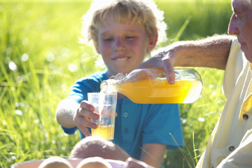 Grandfather pouring Grandson glass of juice, at picnic, in grassy field