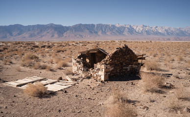 Stone Building Ruins Desert Floor Owen's Valley California