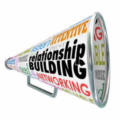 Relationship Building Megaphone Bullhorn Strengthen Friendship B