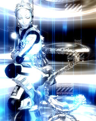 Futuristic robot girl in blue and white metallic gear