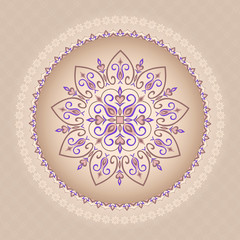Traditional background of brown-purple color.  Mandala.