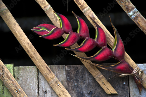 In de dag Bamboo Heliconia flower decorated bamboo hut