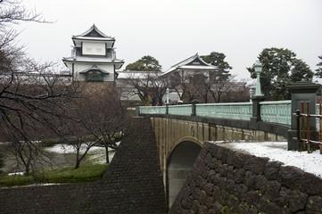 冬の金沢城、石川門