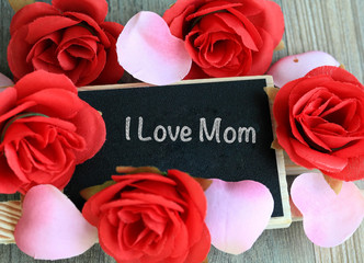 love for mom, message on chalkboard