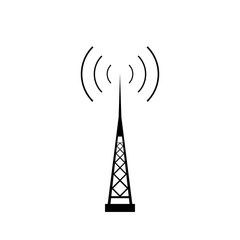 Broadcasting antenna with signal waves on white background.