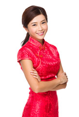 Chinese woman with red cheongsam for lunar new year