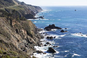 coastline with cliffs and blue waves