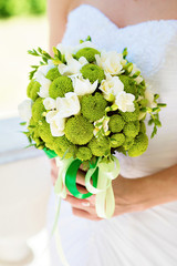 Green wedding bouquet of flowers