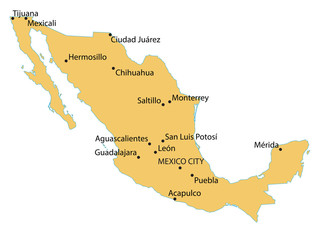 map of Mexico with indication of largest cities