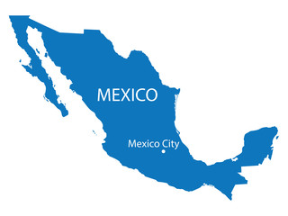 blue map of Mexico