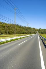 長い直線の道と田