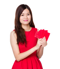 Asian woman hold with red pocket
