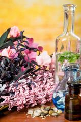 glass bottles oils stones spa concept