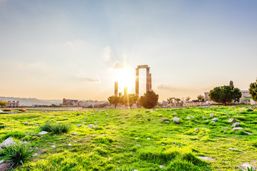 Sunset at Temple of Hercules on Citadel Mountain in Amman